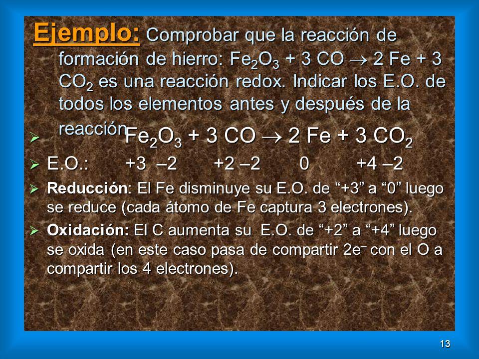 Ejemplo: Comprobar que la reacción de formación de hierro: Fe2O3 + 3 CO  2 Fe + 3 CO2 es una reacción redox. Indicar los E.O. de todos los elementos antes y después de la reacción