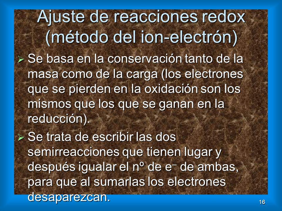 Ajuste de reacciones redox (método del ion-electrón)