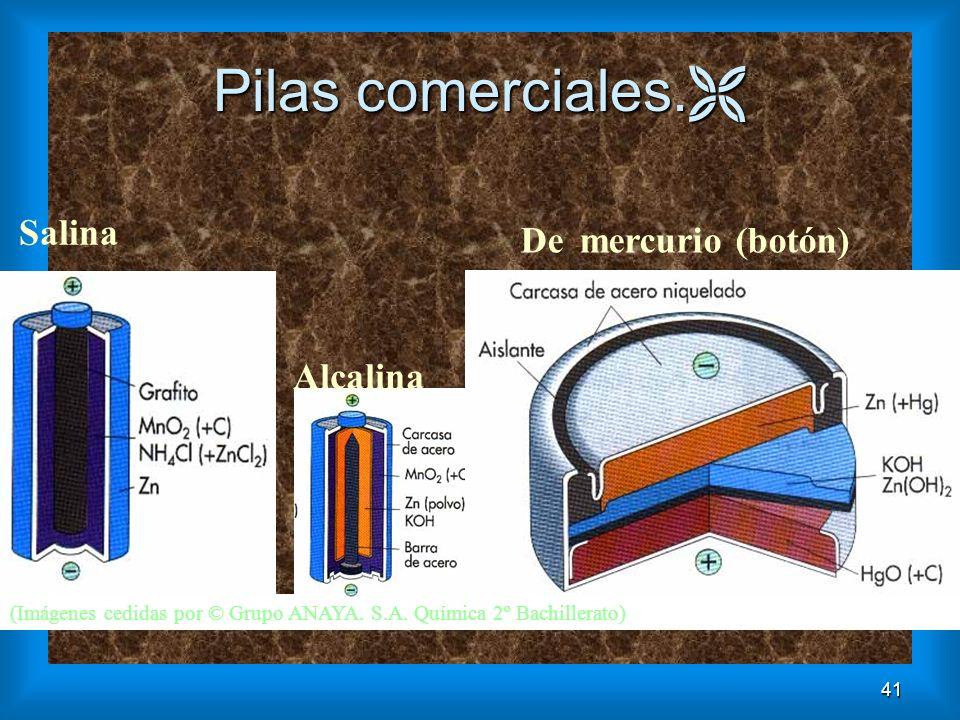 Pilas comerciales. Salina Alcalina De mercurio (botón)