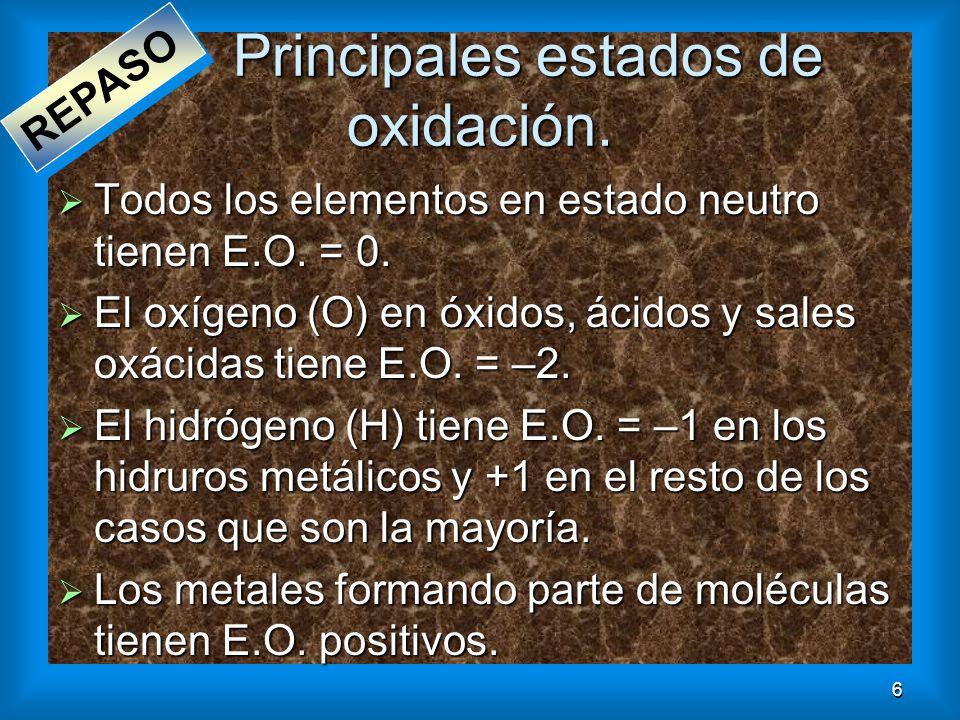 Principales estados de oxidación.