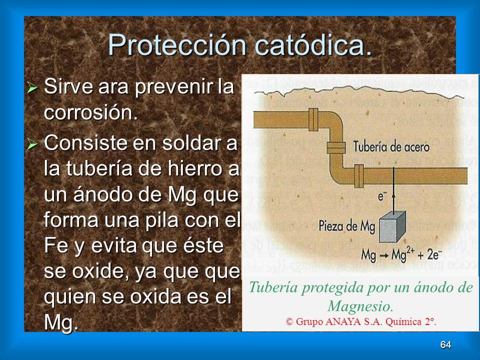 Protección catódica. Sirve ara prevenir la corrosión.