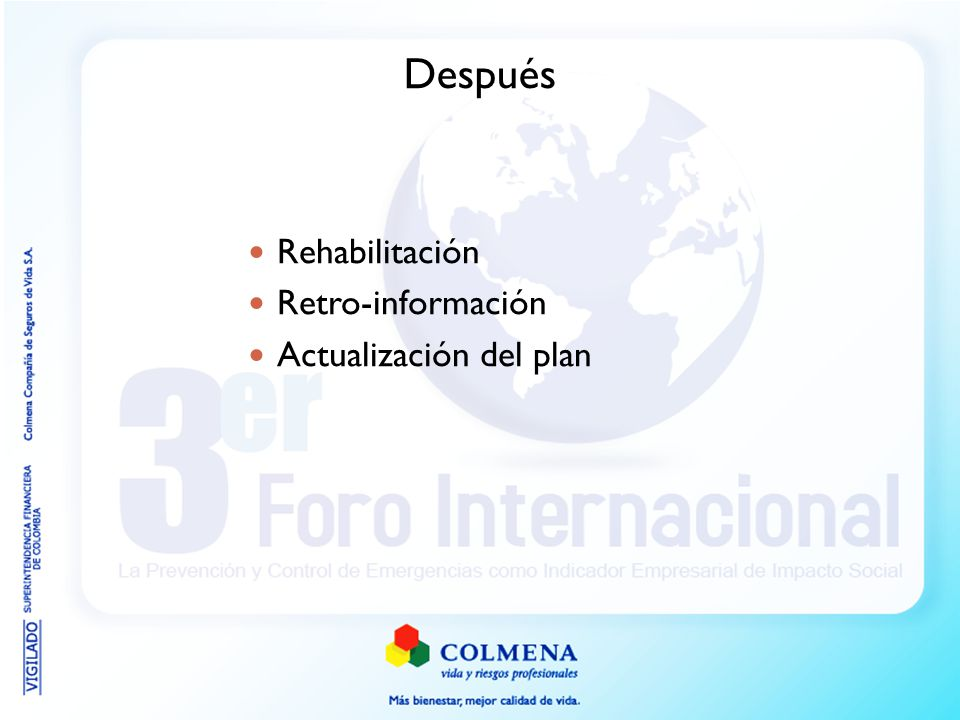 Después Rehabilitación Retro-información Actualización del plan