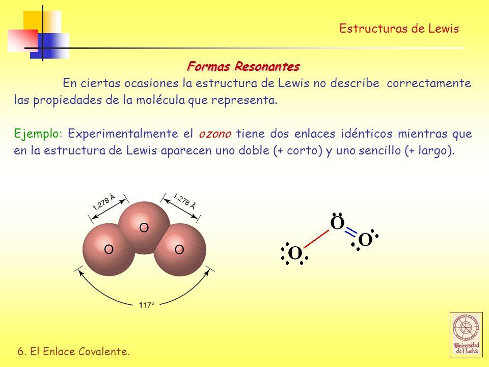 Estructuras de Lewis Formas Resonantes.