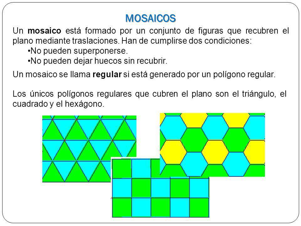 MOSAICOS Un mosaico está formado por un conjunto de figuras que recubren el plano mediante traslaciones. Han de cumplirse dos condiciones: