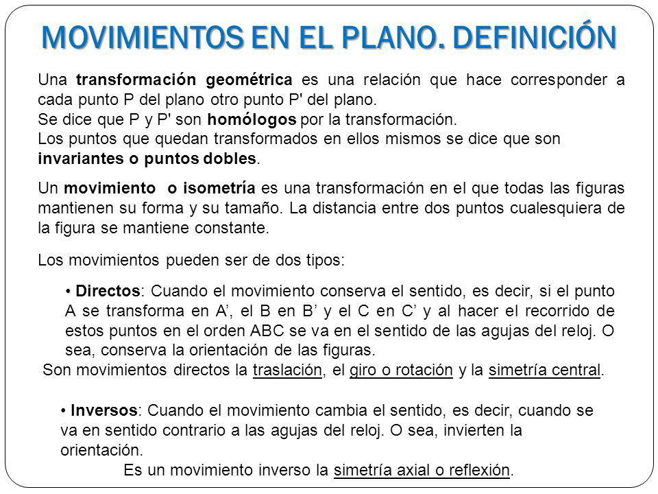 MOVIMIENTOS EN EL PLANO. DEFINICIÓN