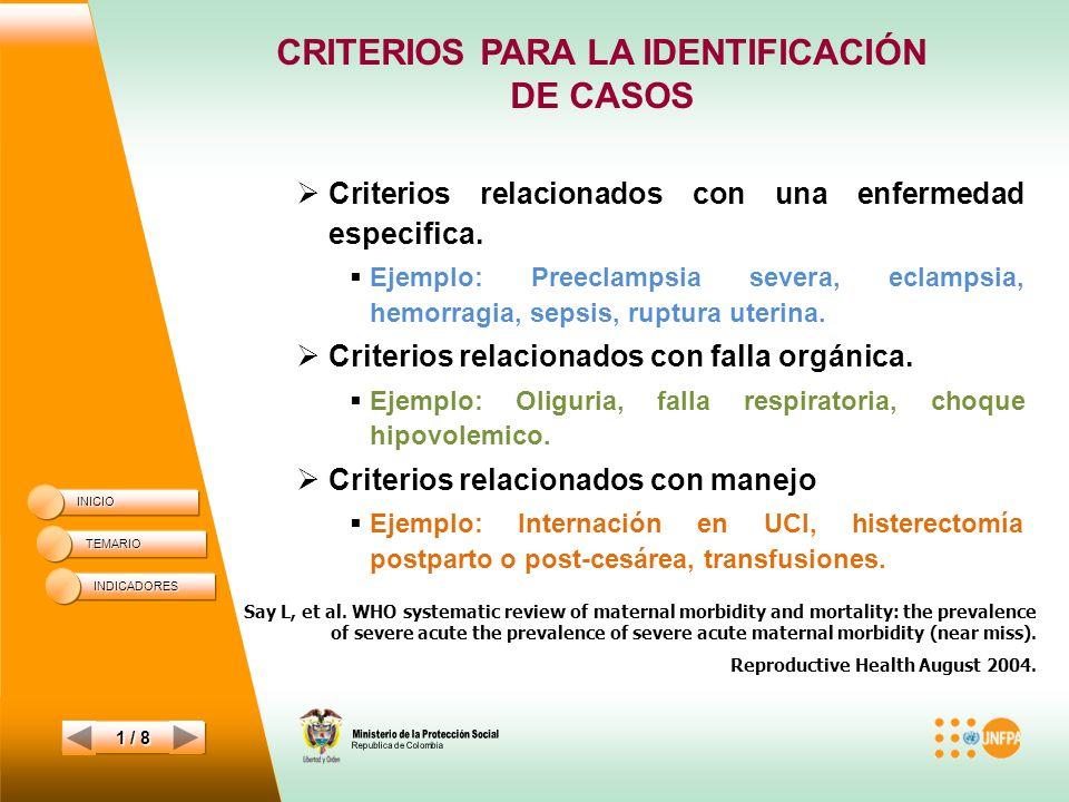 CRITERIOS PARA LA IDENTIFICACIÓN
