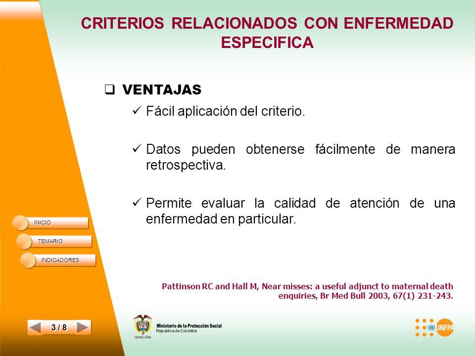 CRITERIOS RELACIONADOS CON ENFERMEDAD ESPECIFICA