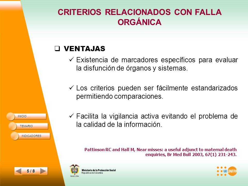 CRITERIOS RELACIONADOS CON FALLA ORGÁNICA