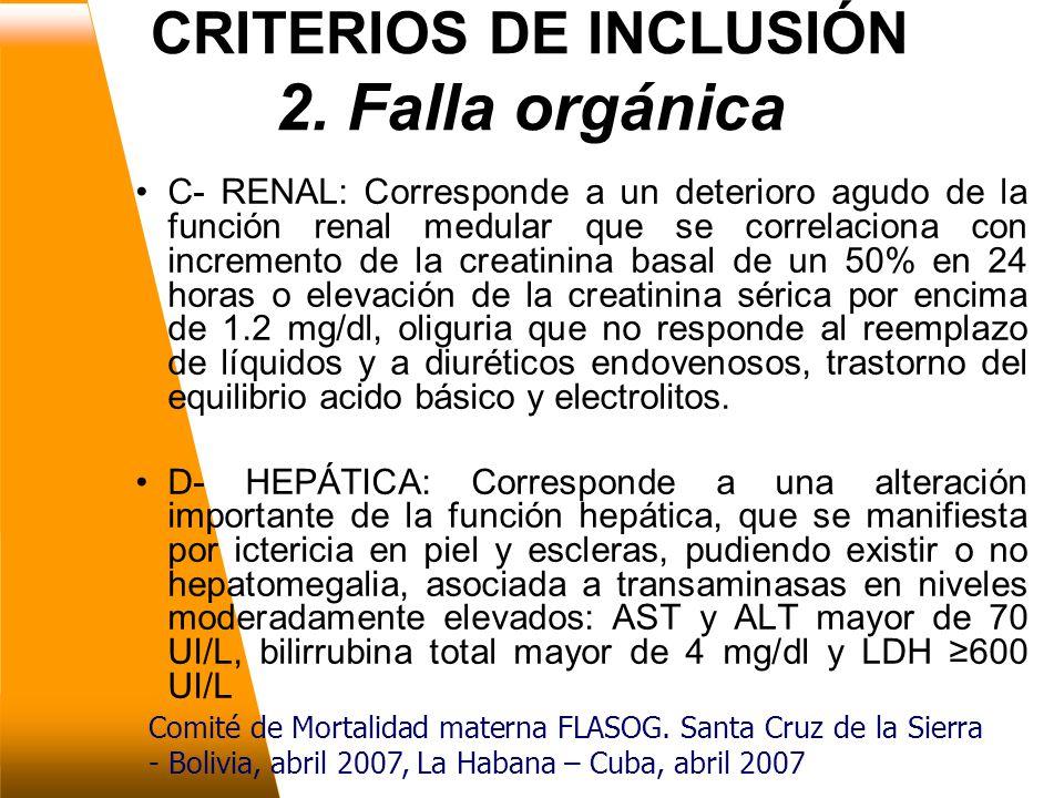 CRITERIOS DE INCLUSIÓN 2. Falla orgánica