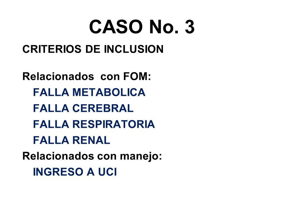 CASO No. 3 CRITERIOS DE INCLUSION Relacionados con FOM: