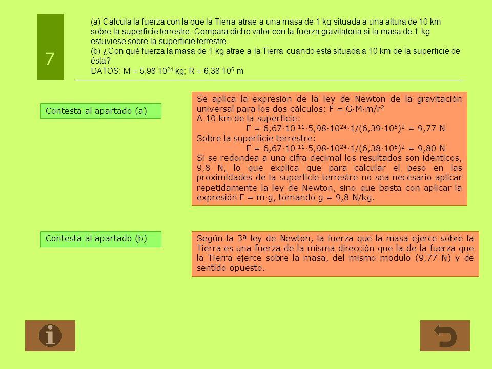 (a) Calcula la fuerza con la que la Tierra atrae a una masa de 1 kg situada a una altura de 10 km sobre la superficie terrestre. Compara dicho valor con la fuerza gravitatoria si la masa de 1 kg estuviese sobre la superficie terrestre. (b) ¿Con qué fuerza la masa de 1 kg atrae a la Tierra cuando está situada a 10 km de la superficie de ésta DATOS: M = 5,98·1024 kg; R = 6,38·106 m