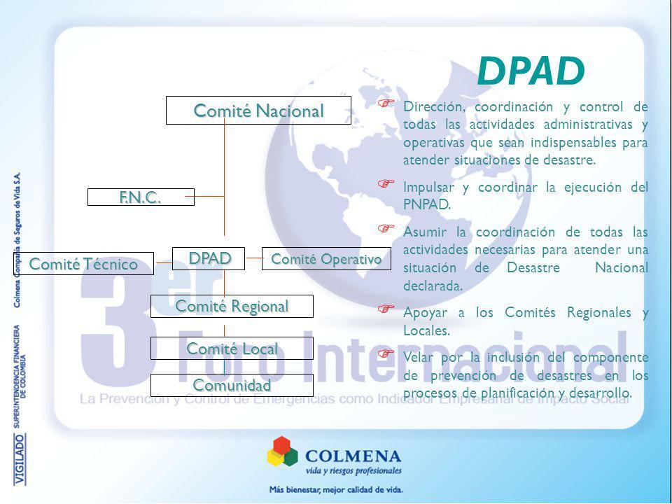 DPAD Comité Nacional F.N.C. DPAD Comité Técnico Comité Regional