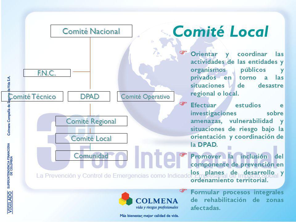 Comité Local Comité Nacional F.N.C. Comité Técnico DPAD