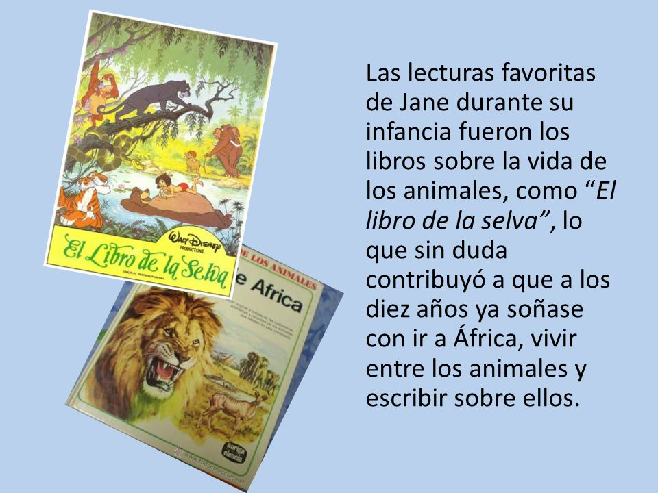 Las lecturas favoritas de Jane durante su infancia fueron los libros sobre la vida de los animales, como El libro de la selva , lo que sin duda contribuyó a que a los diez años ya soñase con ir a África, vivir entre los animales y escribir sobre ellos.