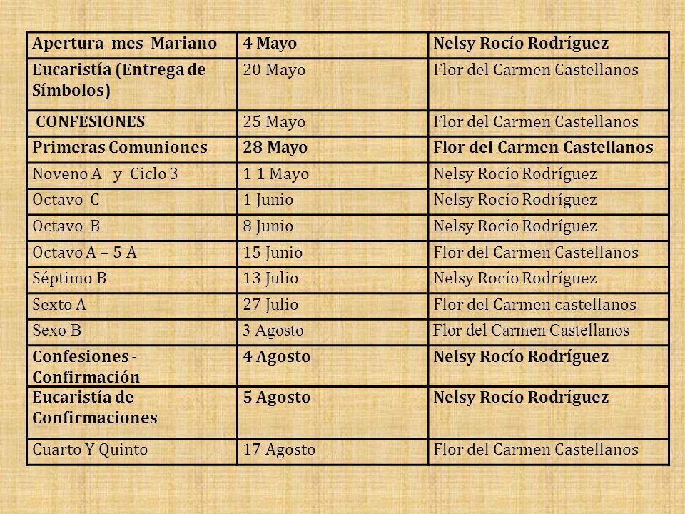 Apertura mes Mariano 4 Mayo. Nelsy Rocío Rodríguez. Eucaristía (Entrega de Símbolos) 20 Mayo. Flor del Carmen Castellanos.