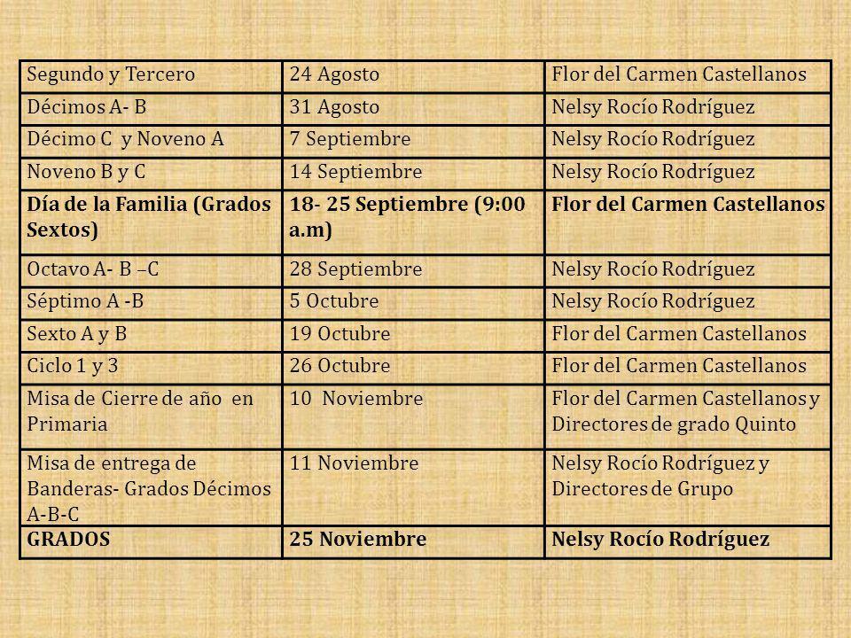 Segundo y Tercero 24 Agosto. Flor del Carmen Castellanos. Décimos A- B. 31 Agosto. Nelsy Rocío Rodríguez.
