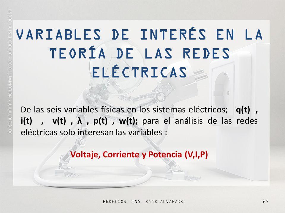 VARIABLES DE INTERÉS EN LA TEORÍA DE LAS REDES ELÉCTRICAS