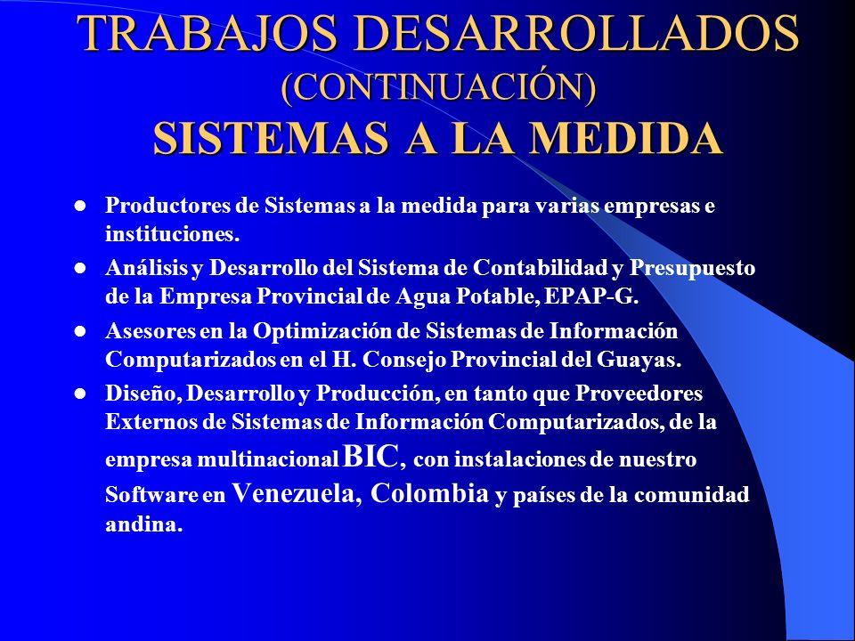 TRABAJOS DESARROLLADOS (CONTINUACIÓN) SISTEMAS A LA MEDIDA