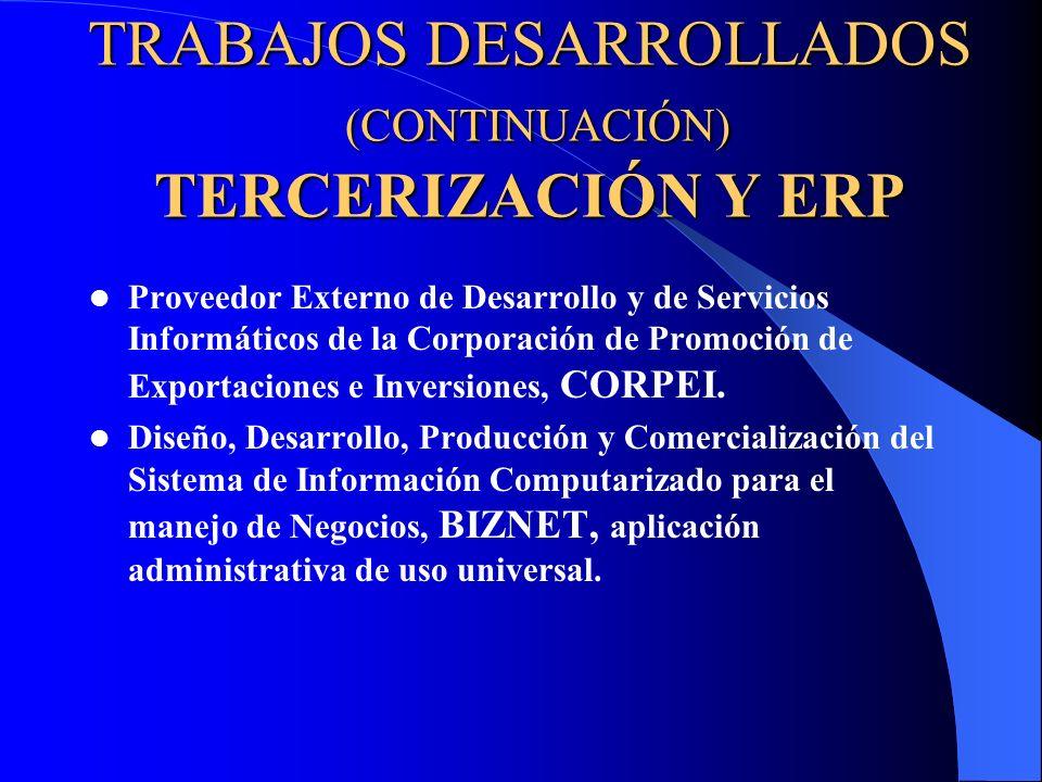 TRABAJOS DESARROLLADOS (CONTINUACIÓN) TERCERIZACIÓN Y ERP