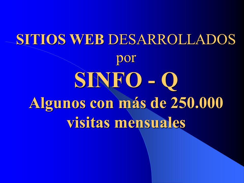 SITIOS WEB DESARROLLADOS por SINFO - Q Algunos con más de 250