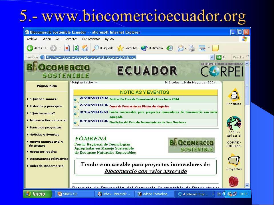 5.- www.biocomercioecuador.org