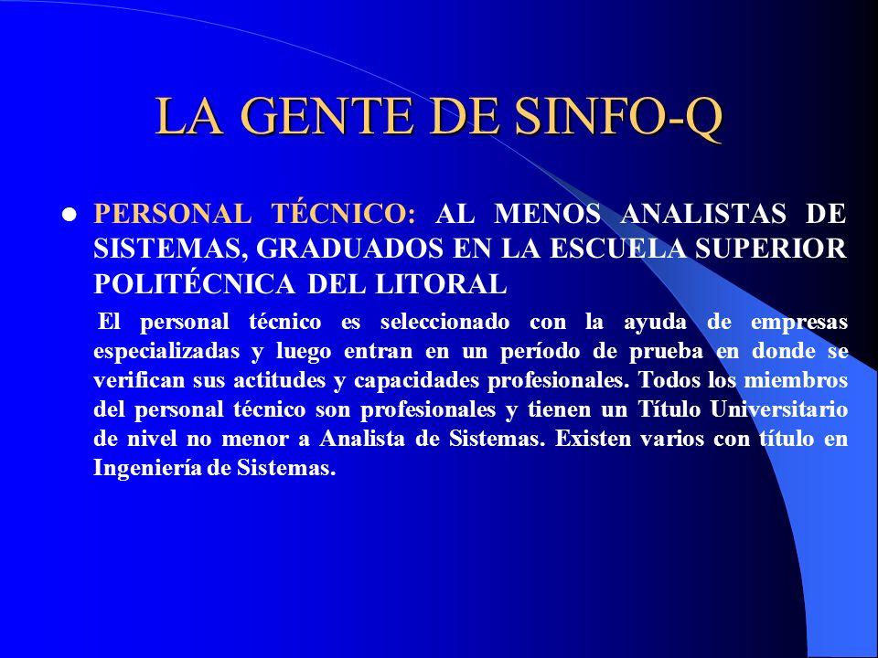 LA GENTE DE SINFO-Q PERSONAL TÉCNICO: AL MENOS ANALISTAS DE SISTEMAS, GRADUADOS EN LA ESCUELA SUPERIOR POLITÉCNICA DEL LITORAL.