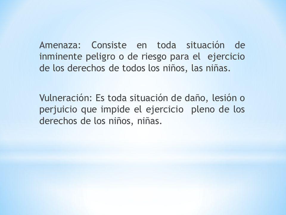 Amenaza: Consiste en toda situación de inminente peligro o de riesgo para el ejercicio de los derechos de todos los niños, las niñas.