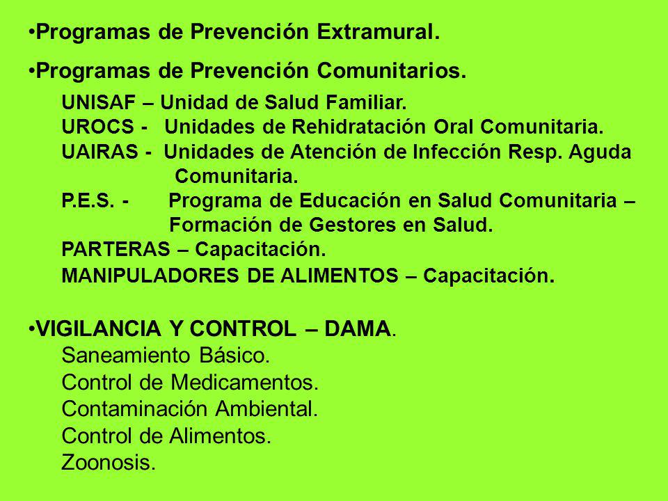 Programas de Prevención Extramural.