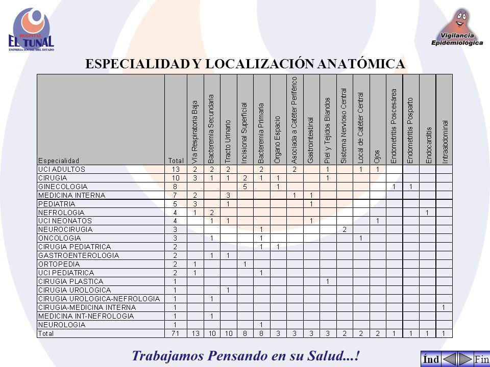 ESPECIALIDAD Y LOCALIZACIÓN ANATÓMICA