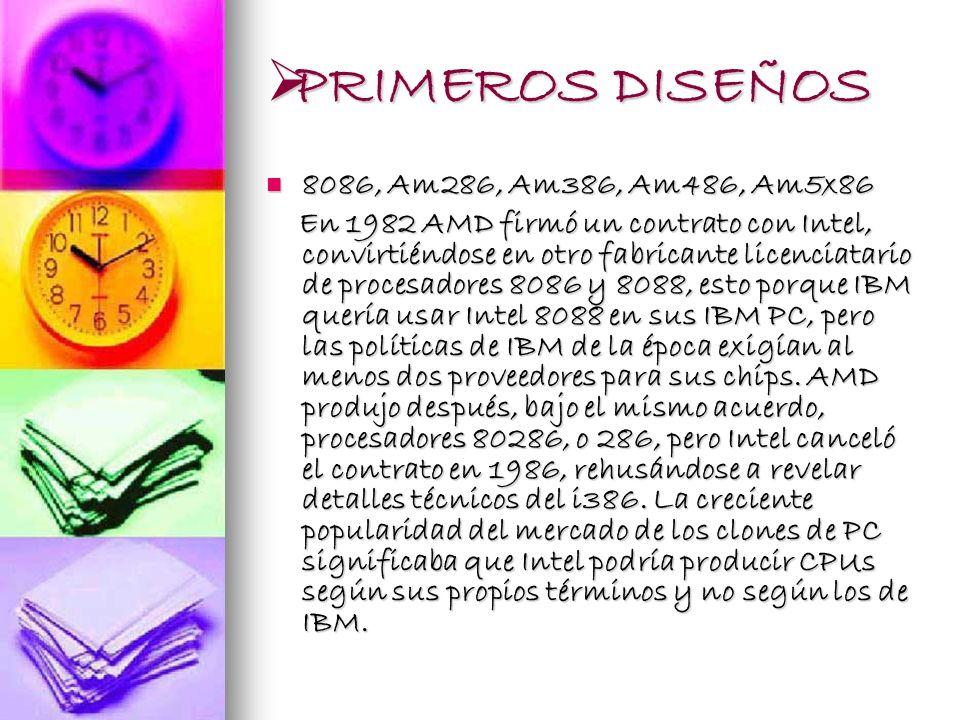 PRIMEROS DISEÑOS 8086, Am286, Am386, Am486, Am5x86