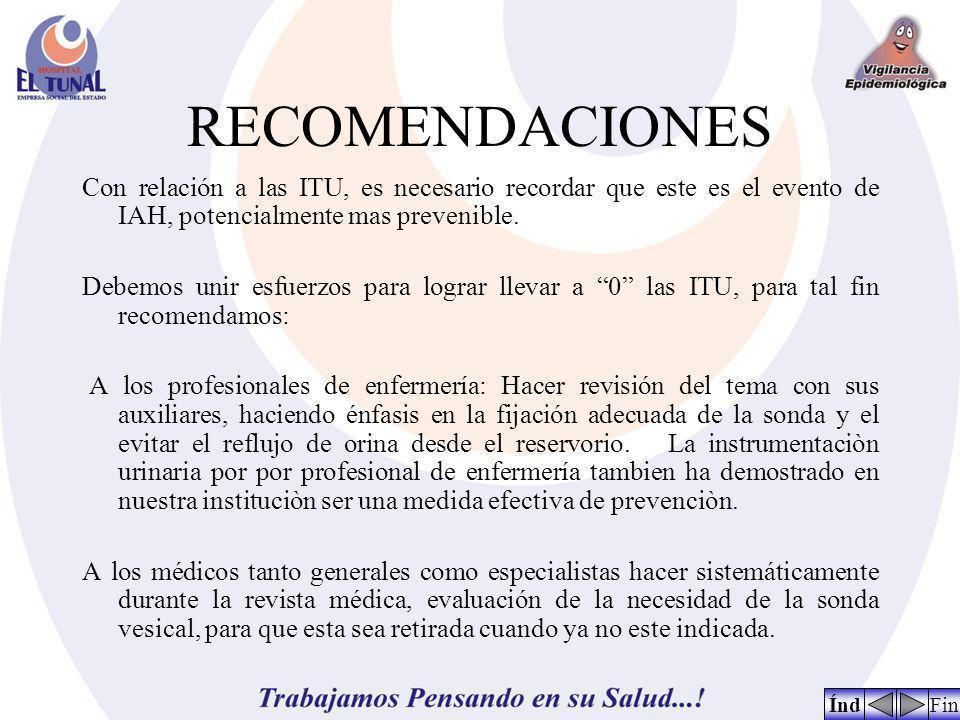RECOMENDACIONES Con relación a las ITU, es necesario recordar que este es el evento de IAH, potencialmente mas prevenible.