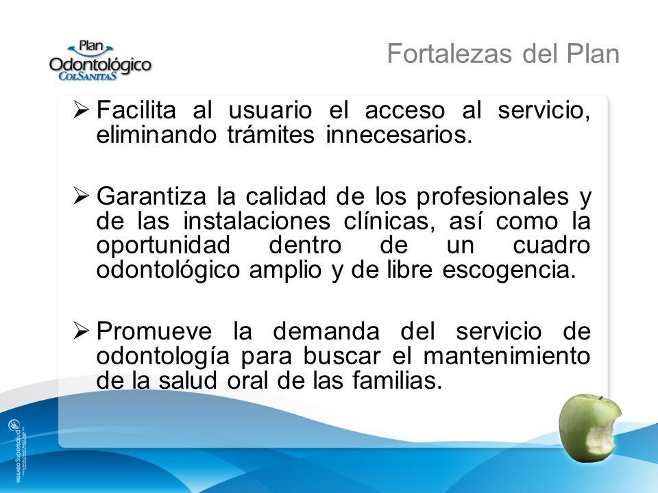 Fortalezas del Plan Facilita al usuario el acceso al servicio, eliminando trámites innecesarios.