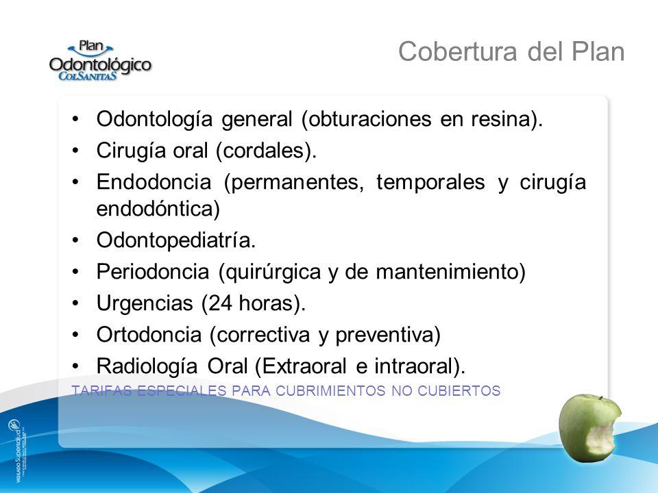 Cobertura del Plan Odontología general (obturaciones en resina).