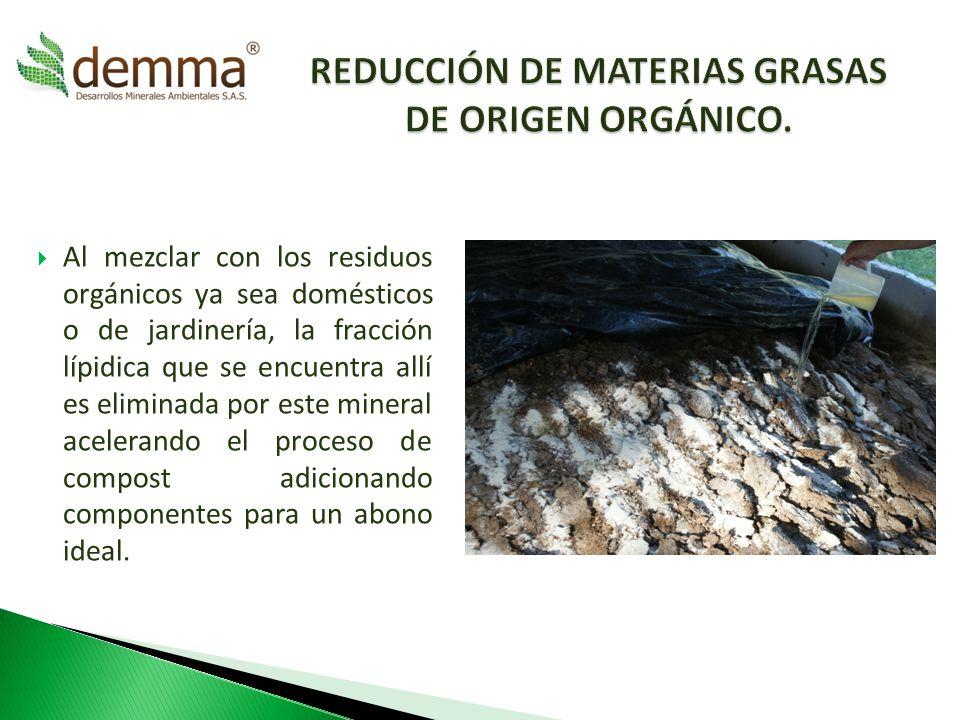 Reducción de materias grasas de origen orgánico.