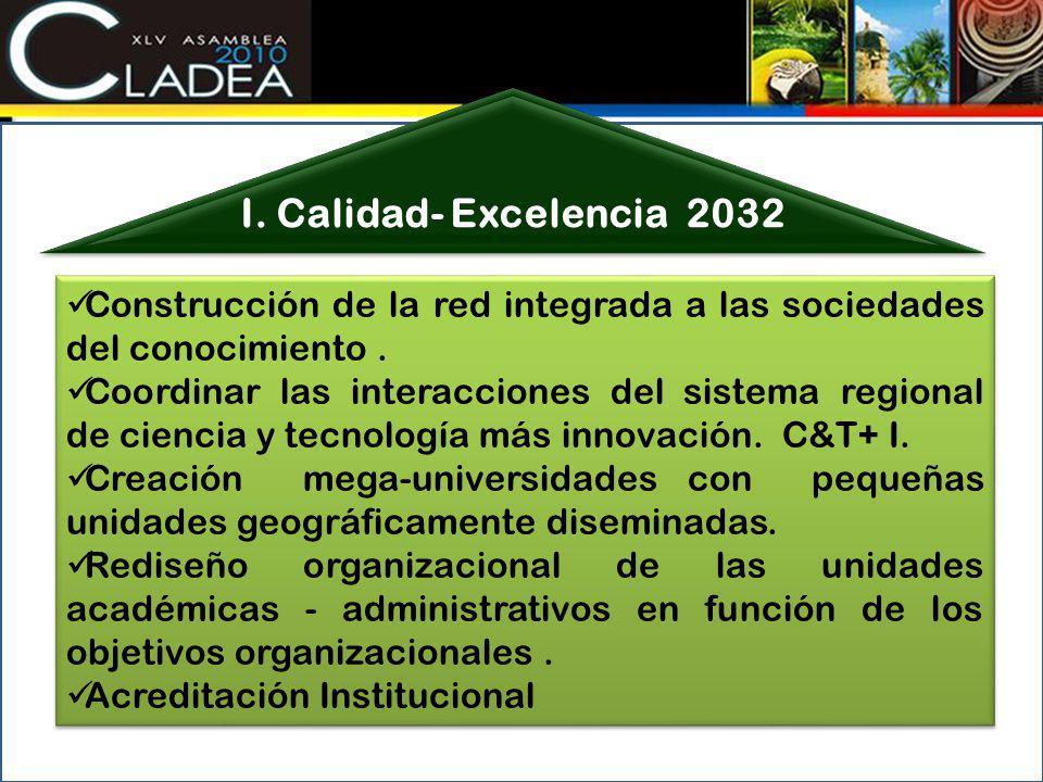 I. Calidad- Excelencia 2032 Construcción de la red integrada a las sociedades del conocimiento .