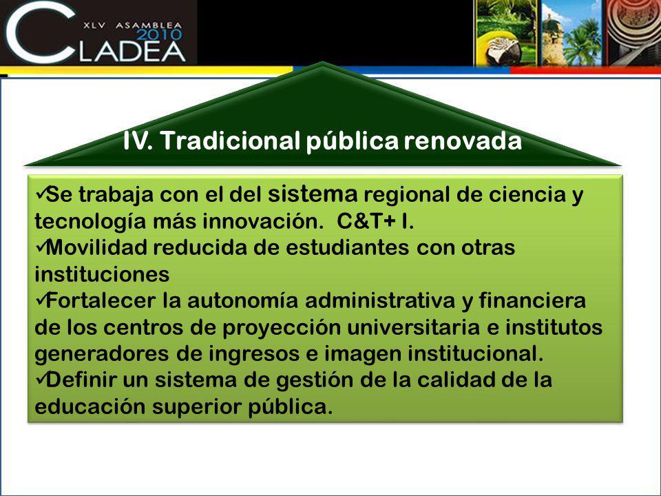 IV. Tradicional pública renovada