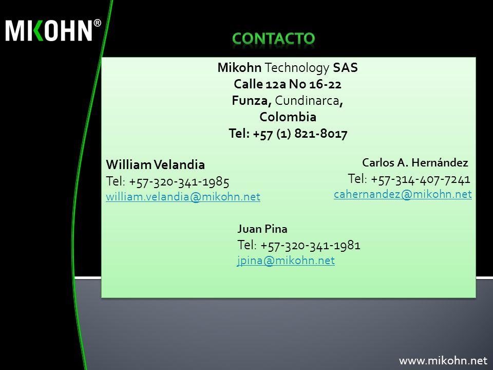 CONTACTO Mikohn Technology SAS Calle 12a No 16-22 Funza, Cundinarca,