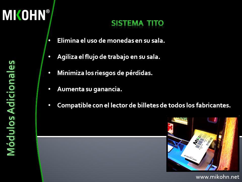 Módulos Adicionales Sistema TITO Elimina el uso de monedas en su sala.