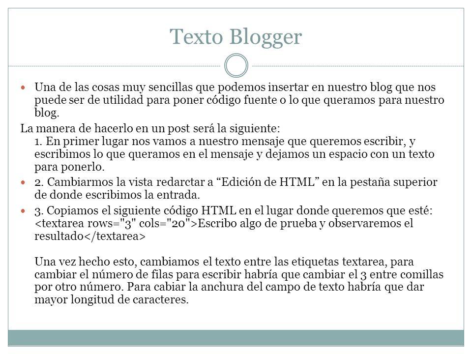 Texto Blogger
