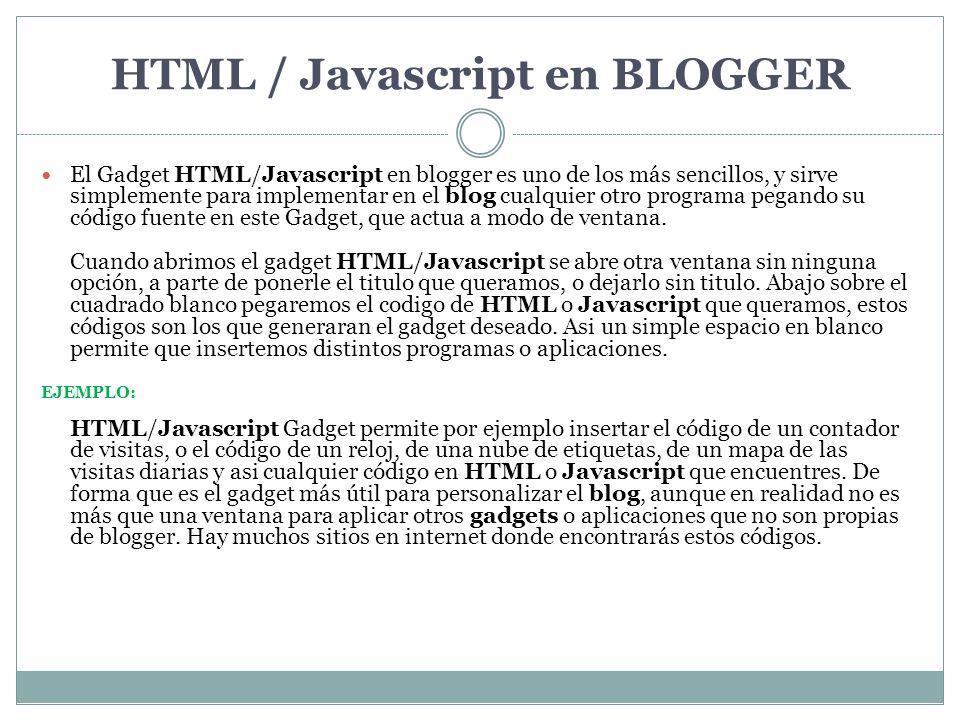 HTML / Javascript en BLOGGER