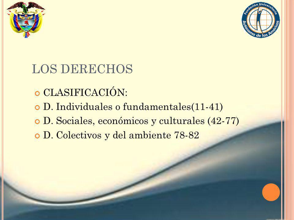 LOS DERECHOS CLASIFICACIÓN: D. Individuales o fundamentales(11-41)