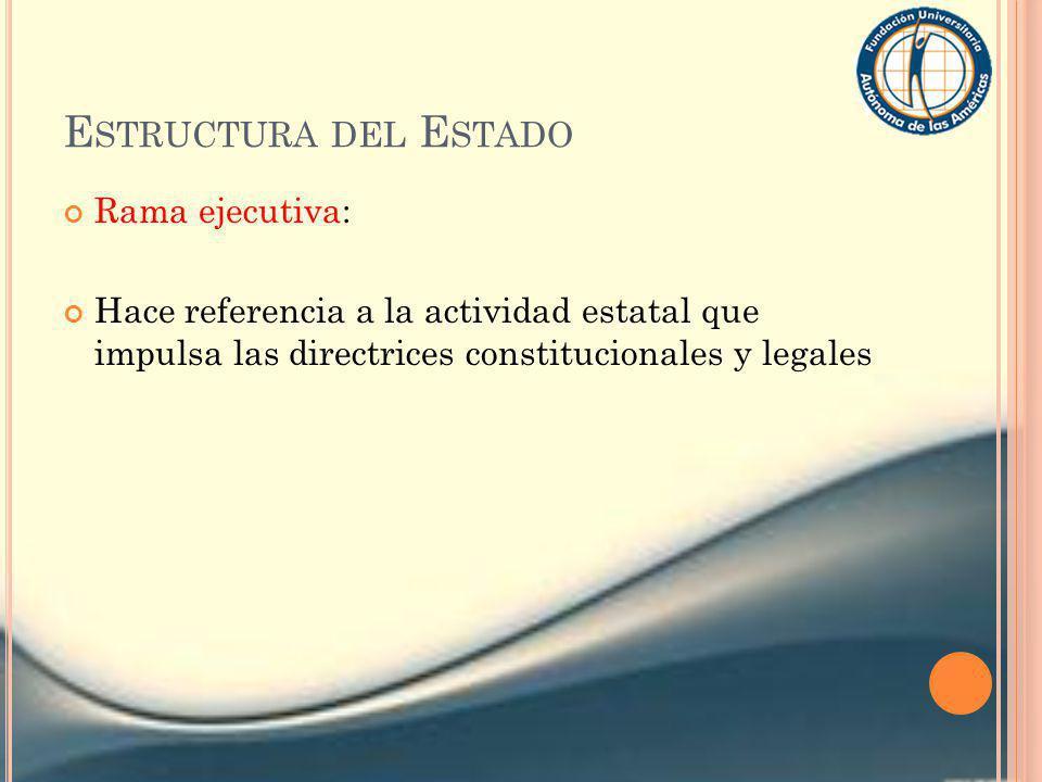 Estructura del Estado Rama ejecutiva: