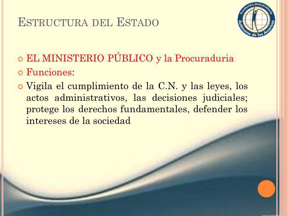 Estructura del Estado EL MINISTERIO PÚBLICO y la Procuraduria