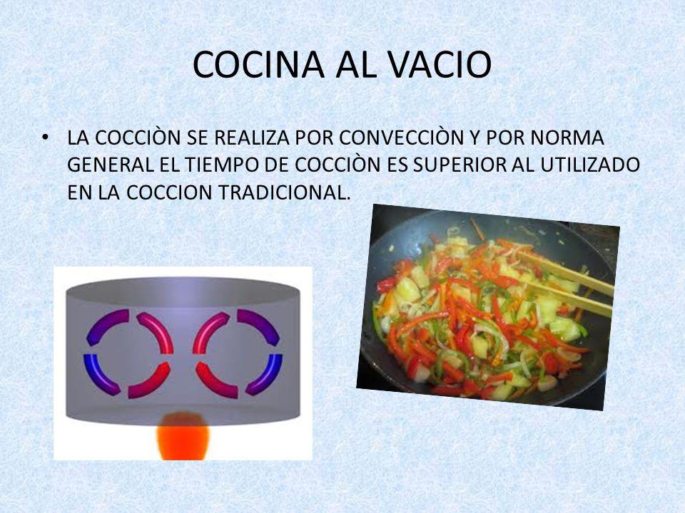 COCINA AL VACIO LA COCCIÒN SE REALIZA POR CONVECCIÒN Y POR NORMA GENERAL EL TIEMPO DE COCCIÒN ES SUPERIOR AL UTILIZADO EN LA COCCION TRADICIONAL.