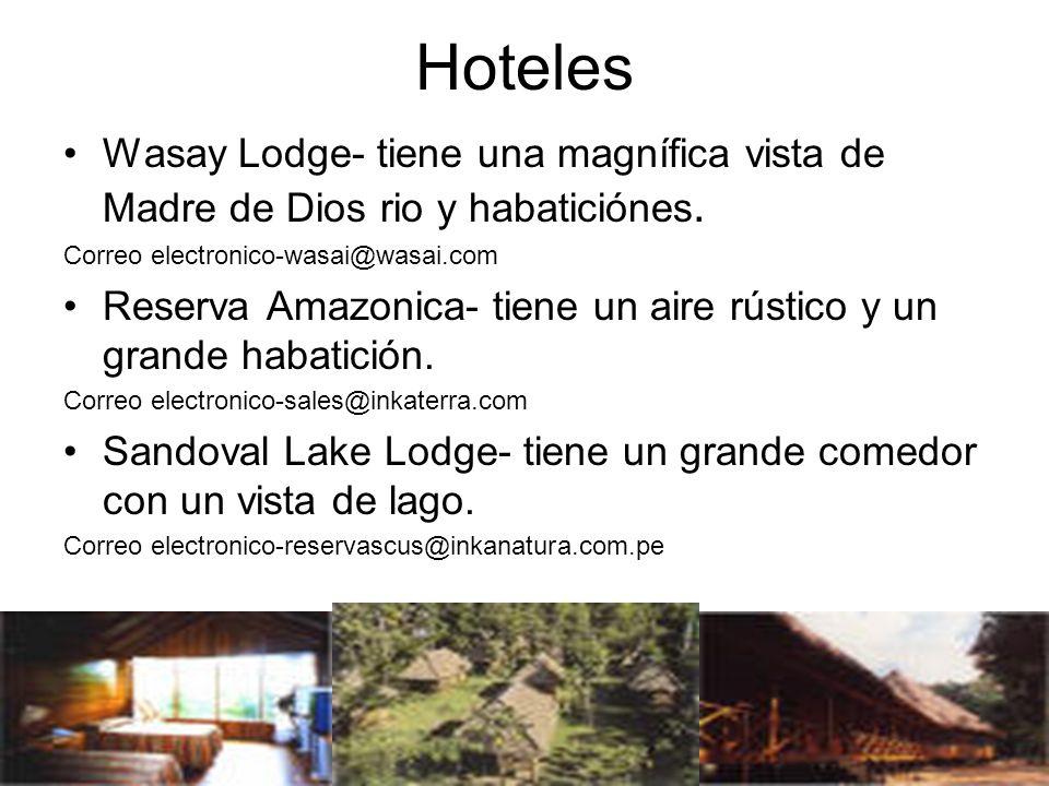 Hoteles Wasay Lodge- tiene una magnífica vista de Madre de Dios rio y habaticiónes. Correo electronico-wasai@wasai.com.