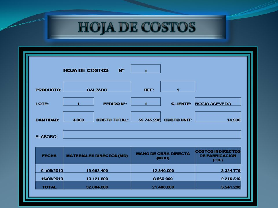 HOJA DE COSTOS