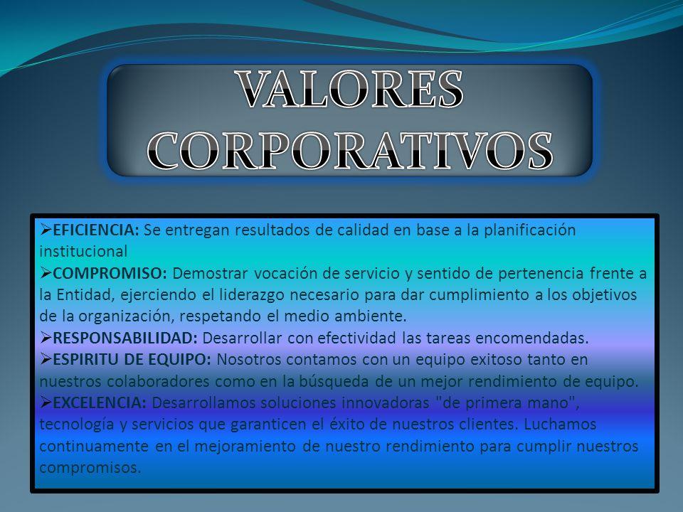 VALORES CORPORATIVOS EFICIENCIA: Se entregan resultados de calidad en base a la planificación institucional.