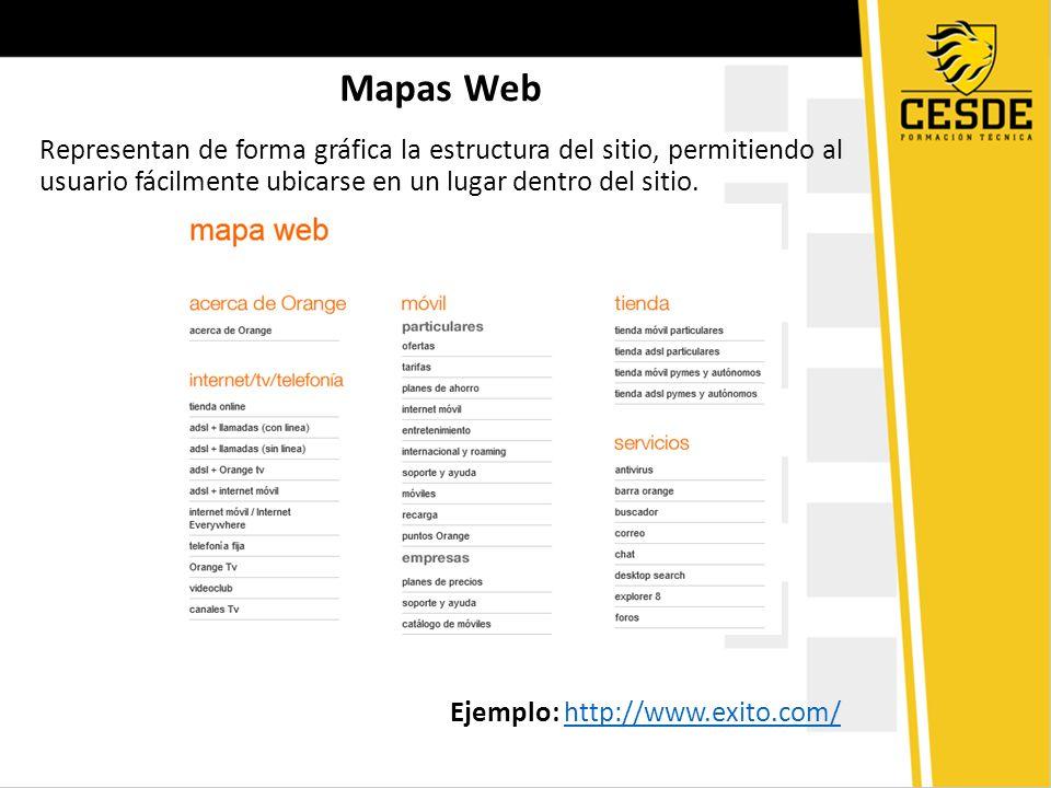 Mapas Web Representan de forma gráfica la estructura del sitio, permitiendo al usuario fácilmente ubicarse en un lugar dentro del sitio.
