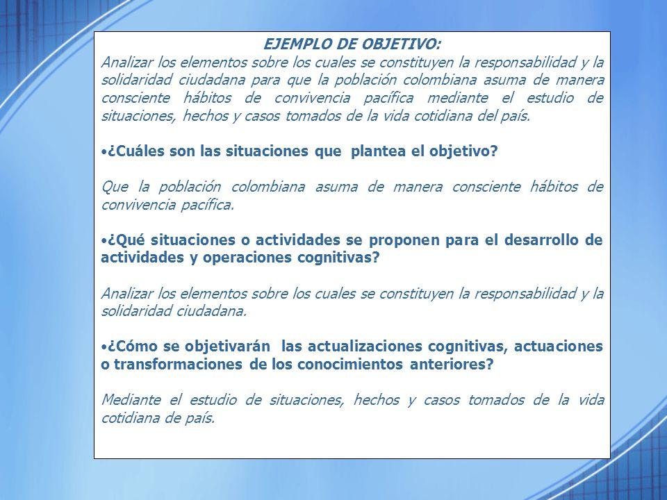 EJEMPLO DE OBJETIVO: