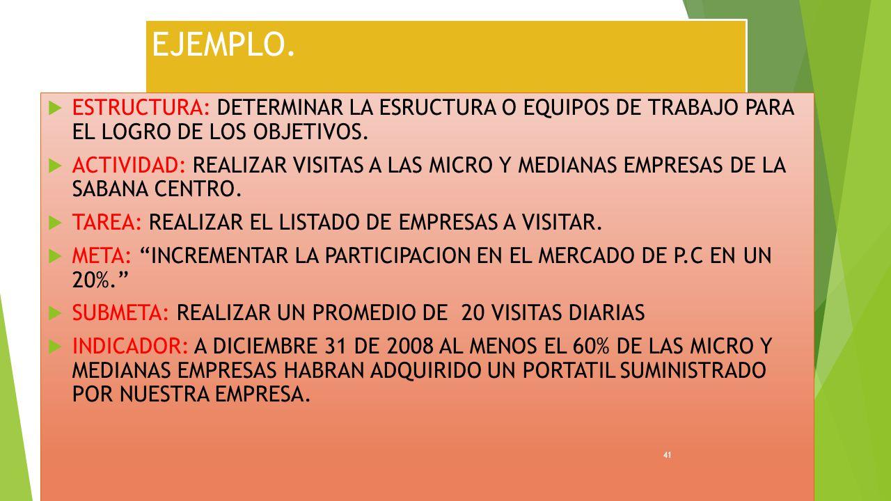 EJEMPLO. ESTRUCTURA: DETERMINAR LA ESRUCTURA O EQUIPOS DE TRABAJO PARA EL LOGRO DE LOS OBJETIVOS.